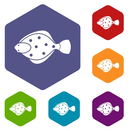 plaice: Flounder fish icons set