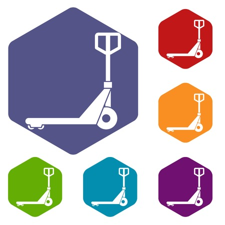 Hand truck icons set