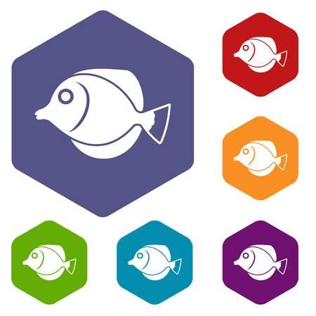 rock salt: Tang fish, Zebrasoma flavescens icons set
