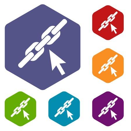 Chain link icons set Illustration