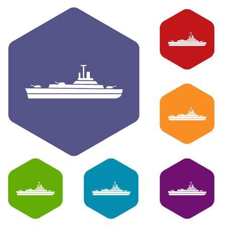 Warship icons set Illustration