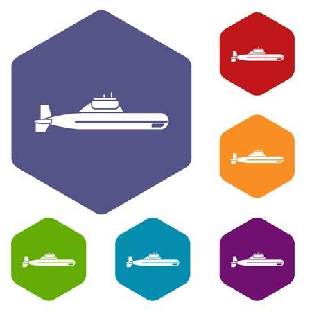 sub: Submarine icons set