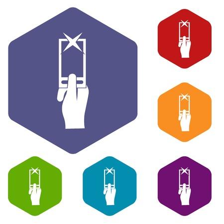 smartphone hand: Hand photographs on smartphone icons set