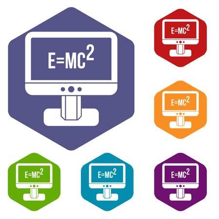 einstein: Monitor with Einstein formula icons set