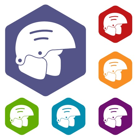 snowboard: Snowboard helmets icons set Illustration