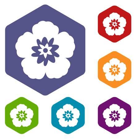 herbaceous: Rose of Sharon, korean flower icons set