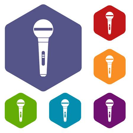 voices: Microphone icons set Illustration