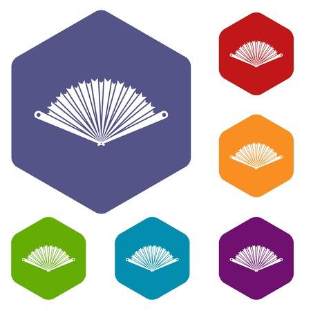 Opened oriental fan icons set