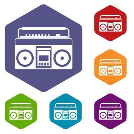 portable radio: Recorder icons set