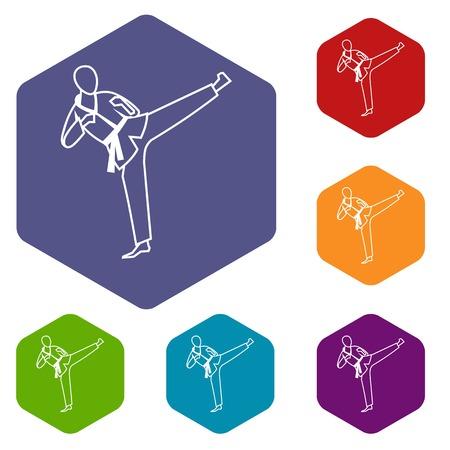 wushu: Wushu master icons set