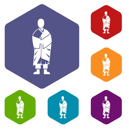 Buddhist monk icons set Illustration
