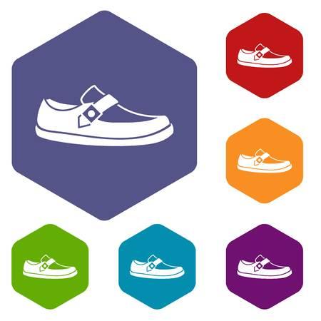 moccasin: Men moccasin icons set