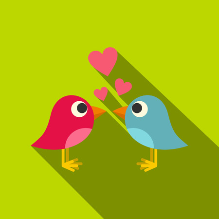 Blue and pink birds with hearts icon, flat style