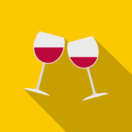 Two glasses of red wine icon, flat style