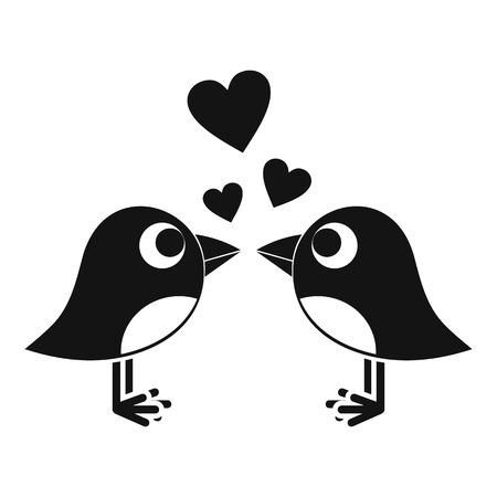 Two birds with hearts icon, simple style