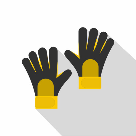 Soccer goalkeepers gloves icon, flat style