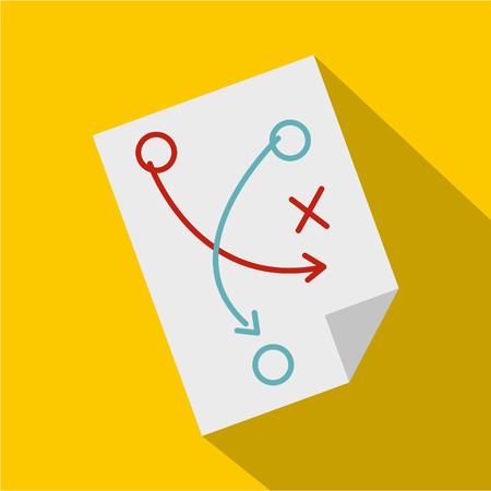 Soccer tactic paper icon, flat style Illustration