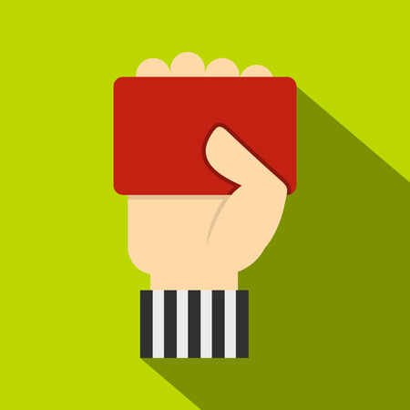 punish: Hand of soccer referee showing red card icon Illustration