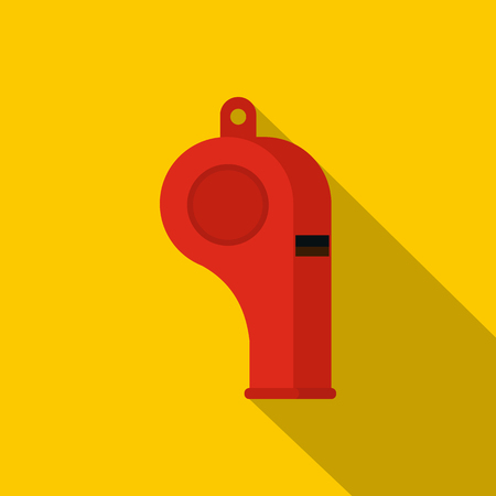 Red sport whistle icon, flat style
