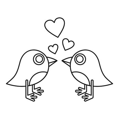 Birds singing icon, outline style