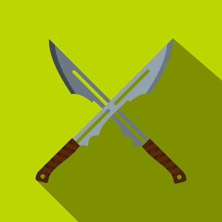 Japanese short swords icon, flat style