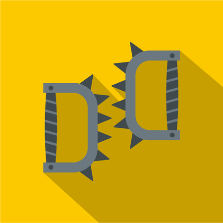 Japanese knuckles with spikes icon, flat style