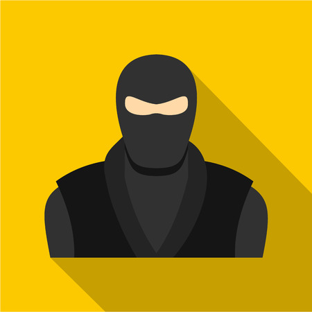 Ninja in black clothes and mask icon, flat style Illustration