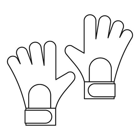 arquero futbol: Fútbol icono de guantes de portero. Ilustración del esquema de fútbol guantes de portero icono vectorial para la web Vectores