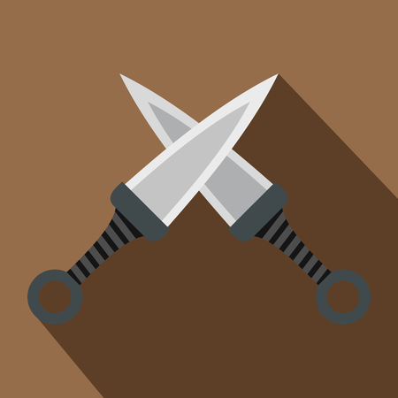 distant: Steel throwing knives icon, flat style