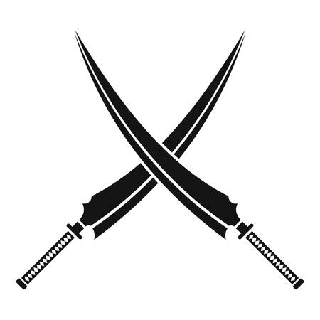 Samurai swords icon, simple style
