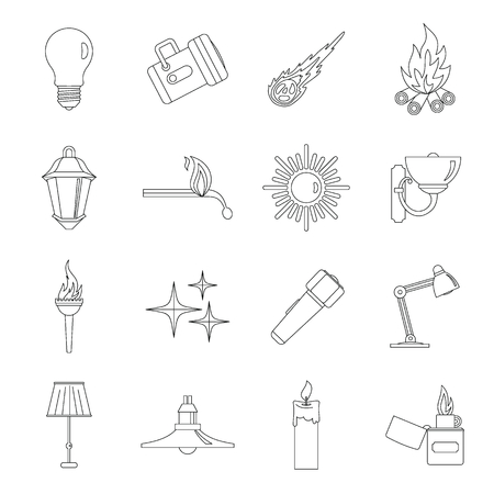 led lighting: Light source symbols icons set, outline style Illustration