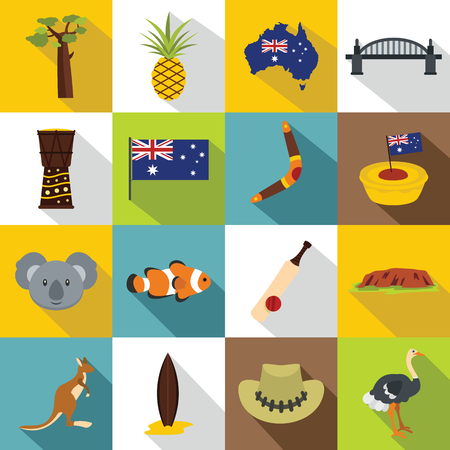 Australia Travel Icons Set Simple Illustration Of 16 Australia