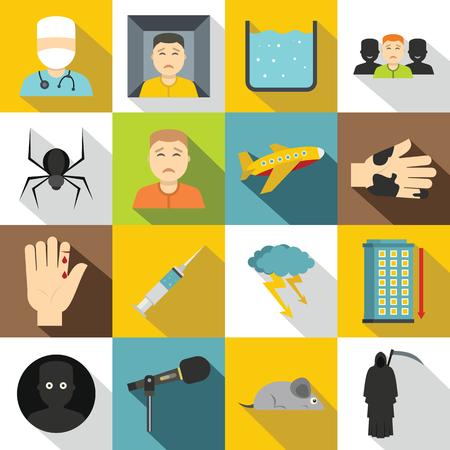 phobia: Phobia symbols icons set, flat style