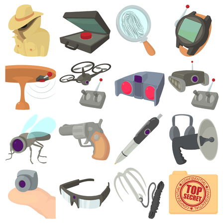 wiretapping: Spy and security icons set. Cartoon illustration of 16 spy and security vector icons for web