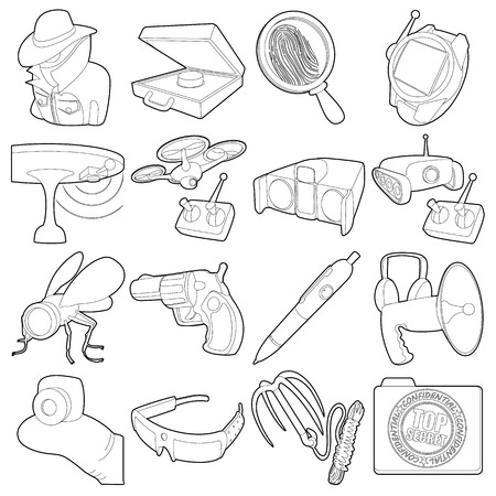 wiretapping: Spy and security icons set. Outline illustration of 16 spy and security vector icons for web