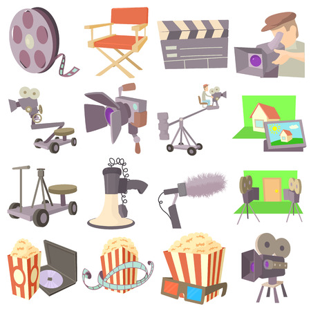 staging: Movie cinema symbols icons set. Cartoon illustration of 16 movie cinema symbols vector icons for web Illustration