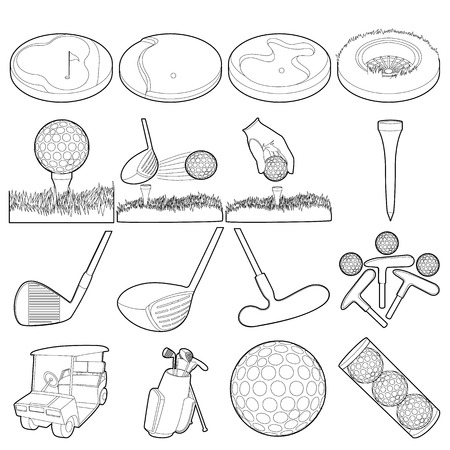 weathervane: Golf items icons set, outline style Illustration