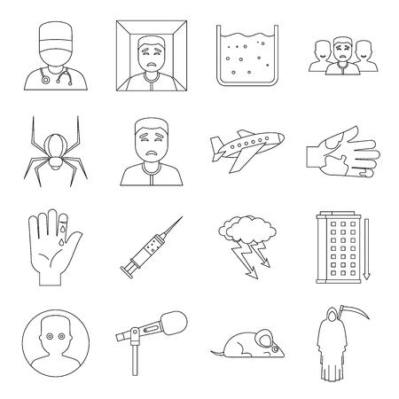 coward: Phobia symbols icons set. Outline illustration of 16 phobia symbols vector icons for web Illustration