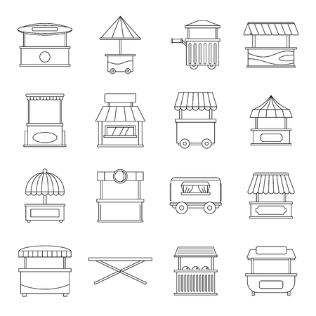 Street food truck icons set, outline style