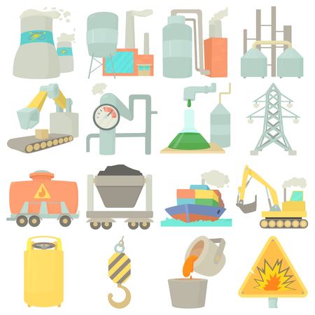 storage facility: Industrial symbols icons set, cartoon style
