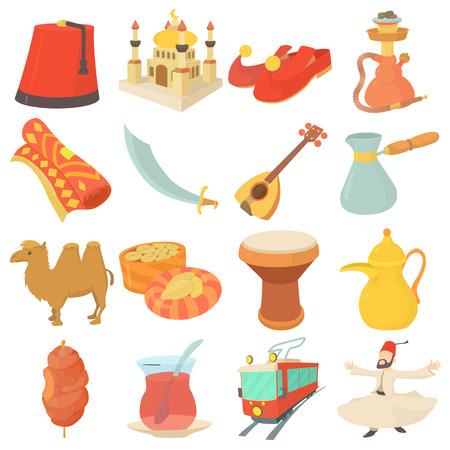 Turkey travel symbols icons set, cartoon style