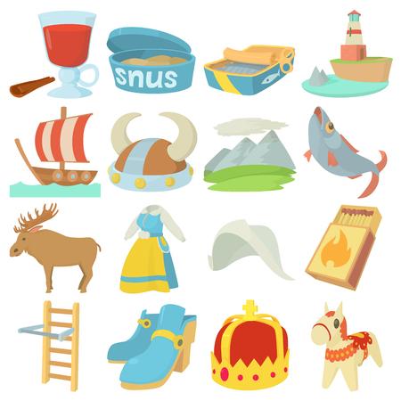 Sweden travel symbols icons set, cartoon style