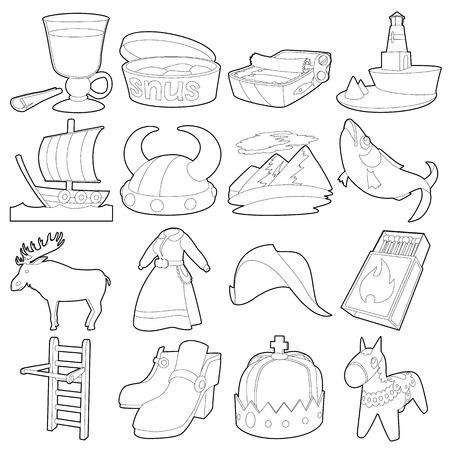 Sweden travel symbols icons set, outline style Illustration