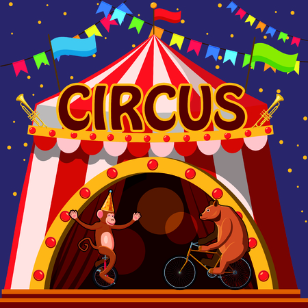fire and ice: Circus animals show tent concept, cartoon style