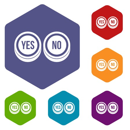 yes no: Round signs yes and no icons set Illustration