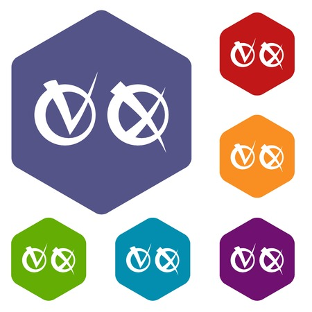 disagree: Tick and cross in circles icons set Illustration