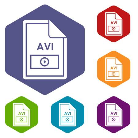 avi: File AVI icons set Illustration
