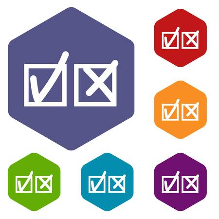 disagree: Checkmark to accept and refusal icons set Illustration