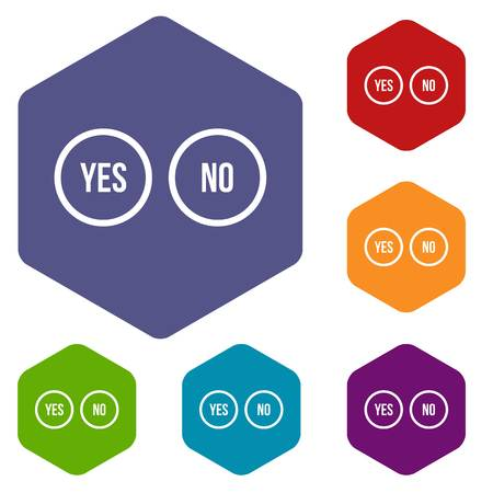 yes no: Selection buttons yes and no icons set