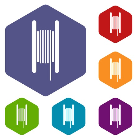 Electric cable in coil icons set